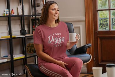 Woman with coffee mug t-shirt mock up