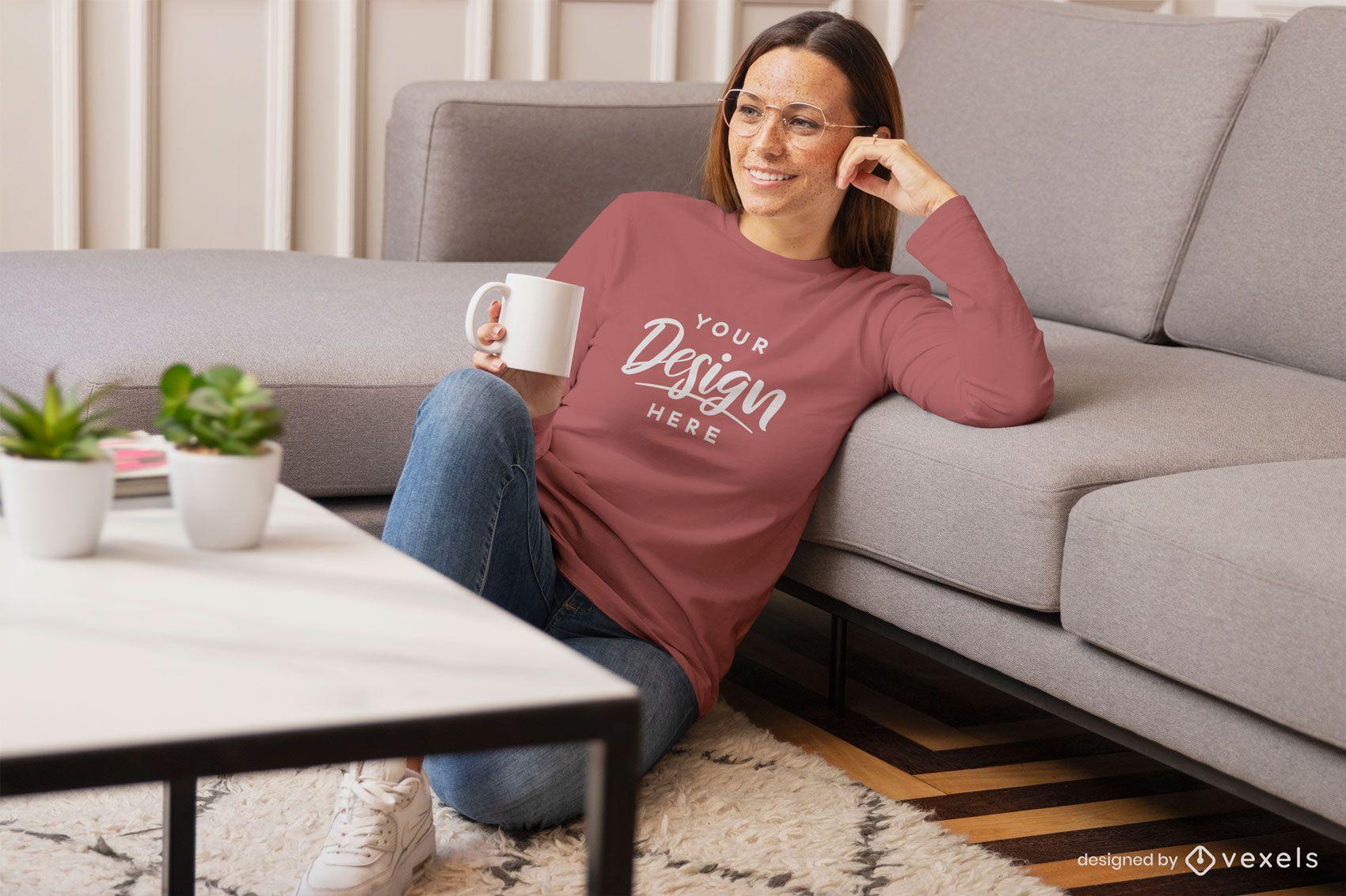 Woman in living room floor sweatshirt mockup