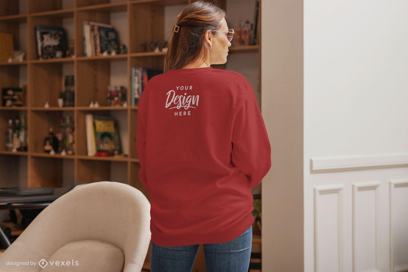 Woman backwards sweatshirt home mockup