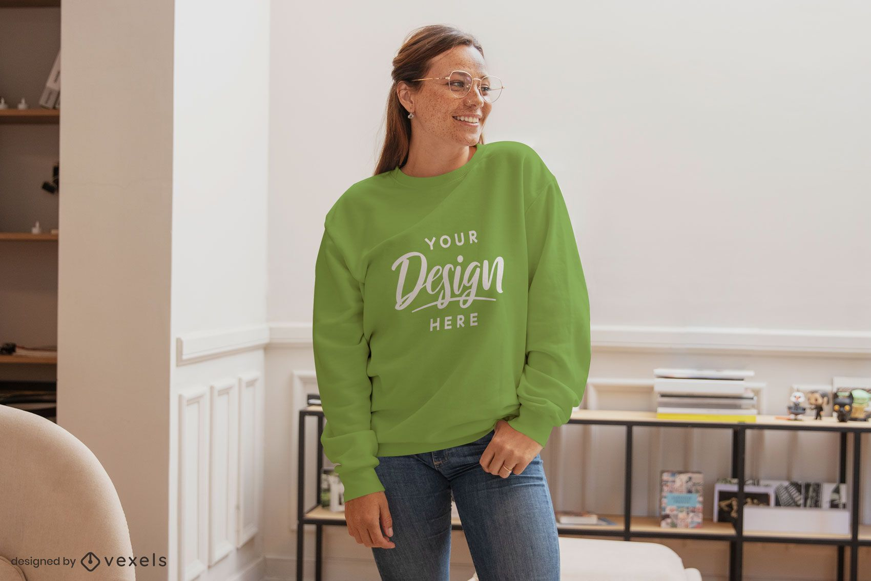 Happy woman in sweatershirt living room mockup