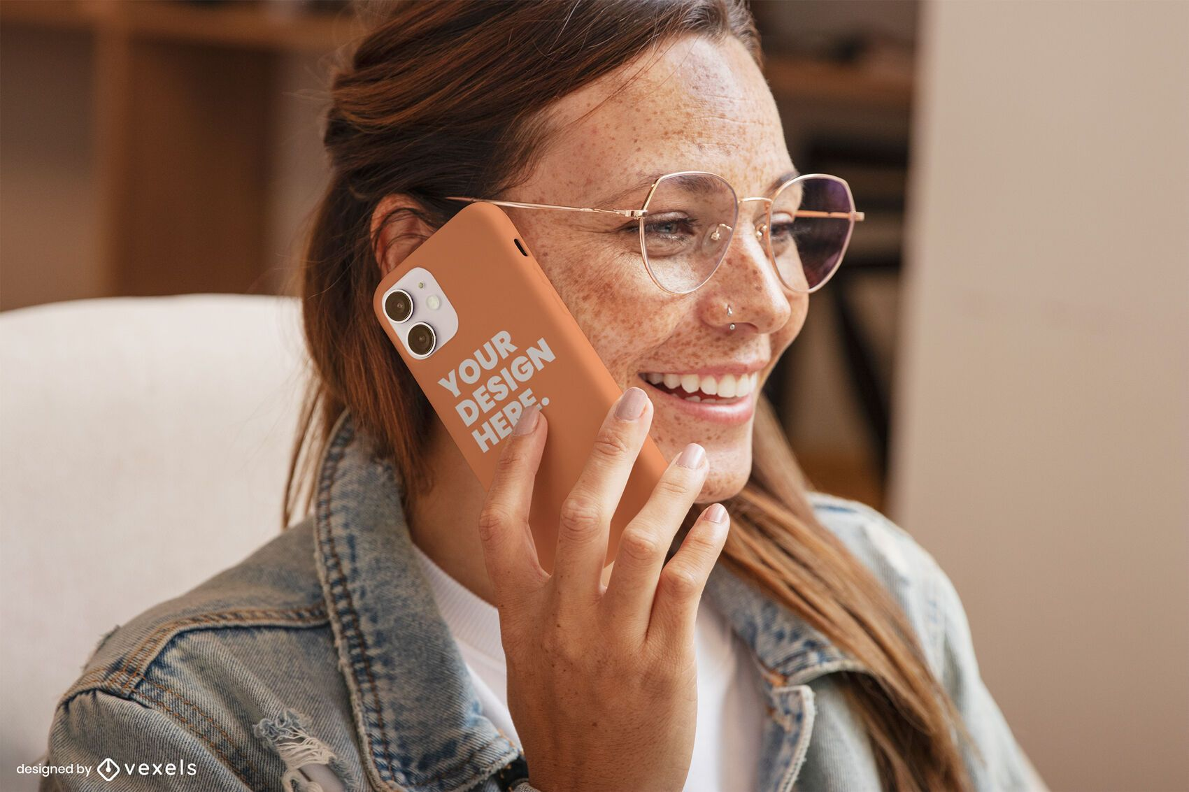 Girl with glasses laughing phone case mockup