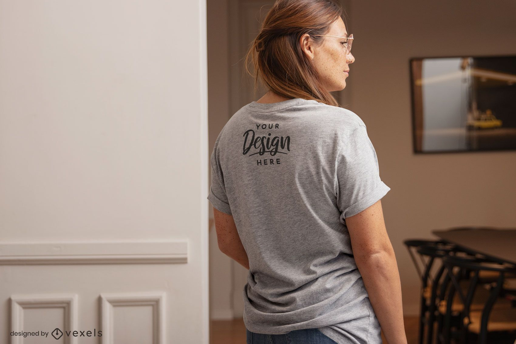 Woman backwards t-shirt home mockup