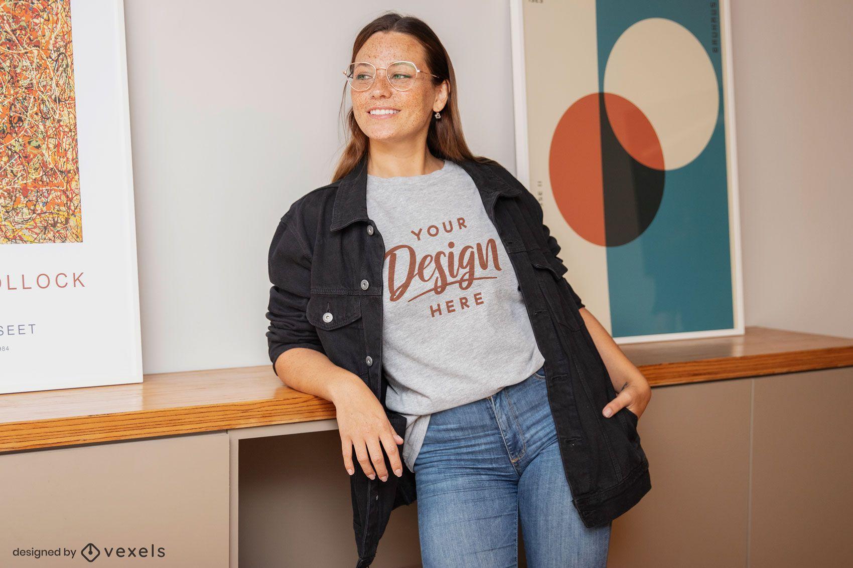 Woman with glasses living room t-shirt mockup