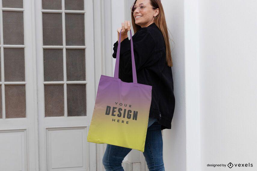 Woman indoor door tote bag mockup