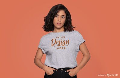 Woman hands in pockets t-shirt mockup