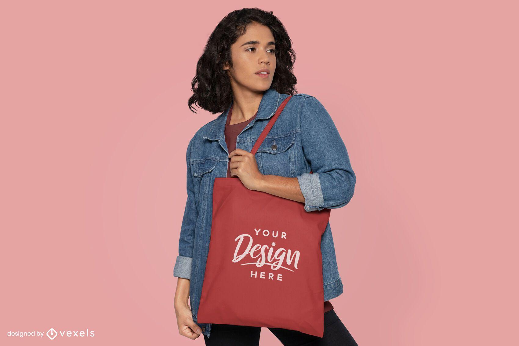 Short-haired woman tote bag mockup