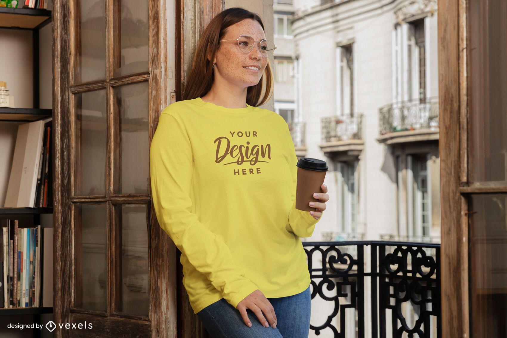 Woman with coffee cup sweatshirt mockup