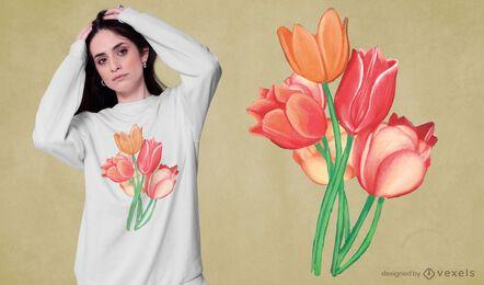 Desenho de t-shirt em aquarela com flores de tulipa
