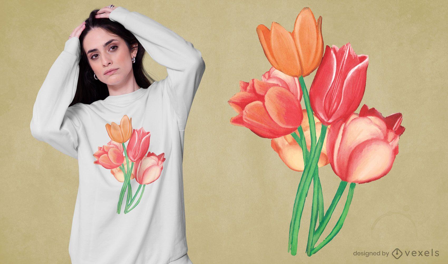 Diseño de camiseta de acuarela de flores de tulipán