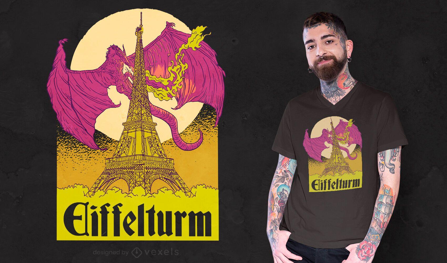 Diseño de camiseta de dragón de la torre eiffel