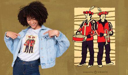 Diseño de camiseta de trompeta y tambor.