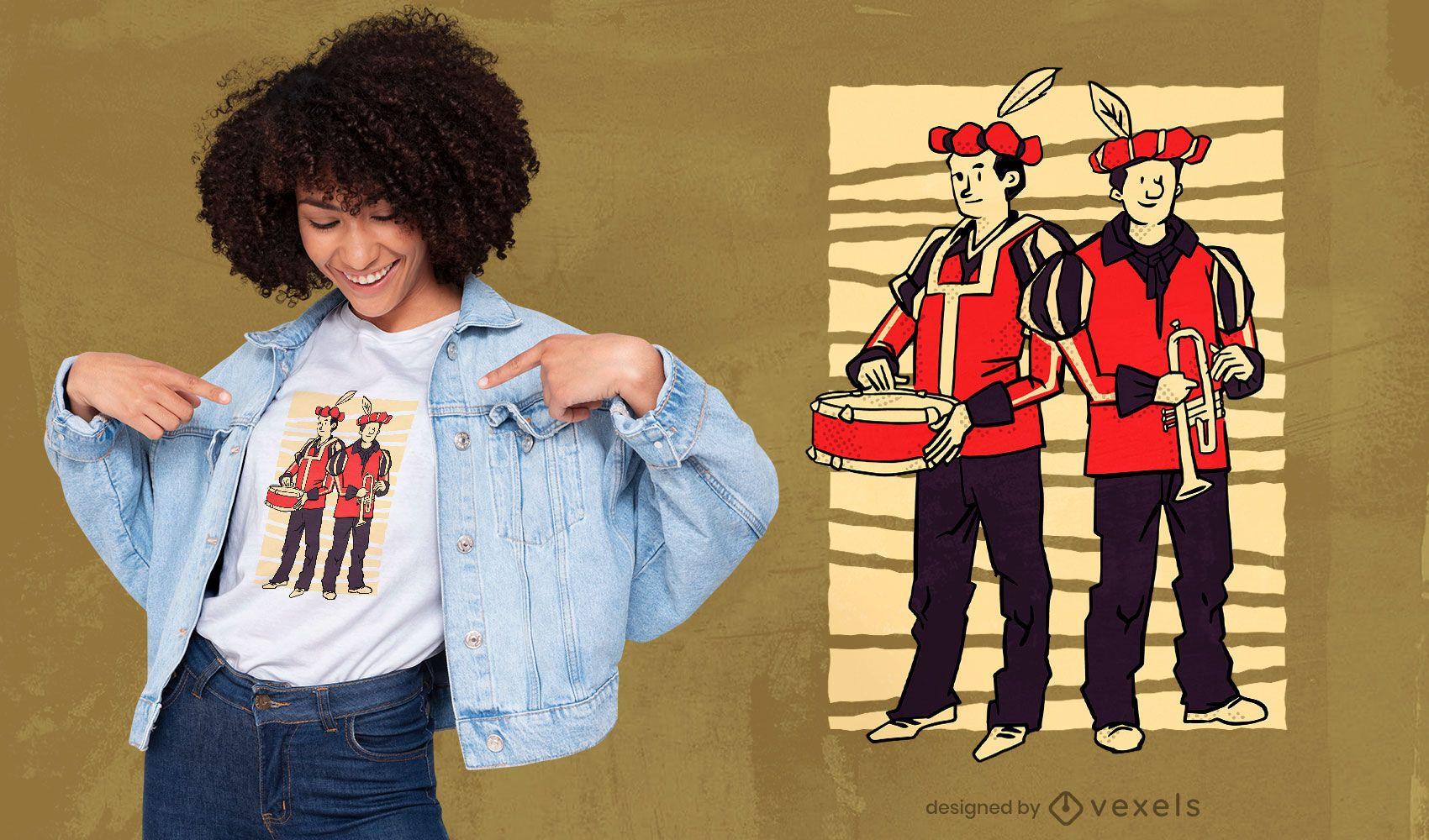 Design de t-shirt de pessoas de trompete e tambor