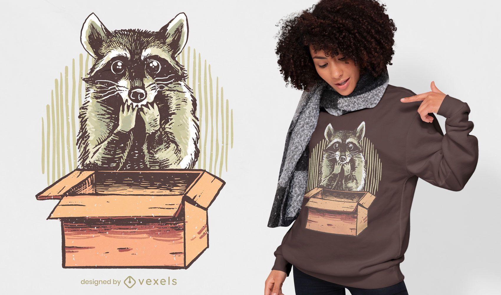 Mapache con diseño de camiseta de caja.