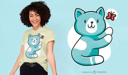Gato fofo perseguindo design de camiseta de borboleta