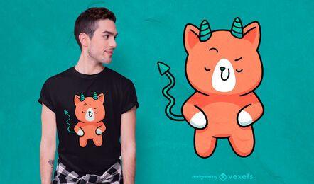 Diseño lindo de la camiseta de los cuernos del gato del diablo