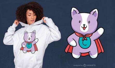 Design de t-shirt de gato super-herói fofo