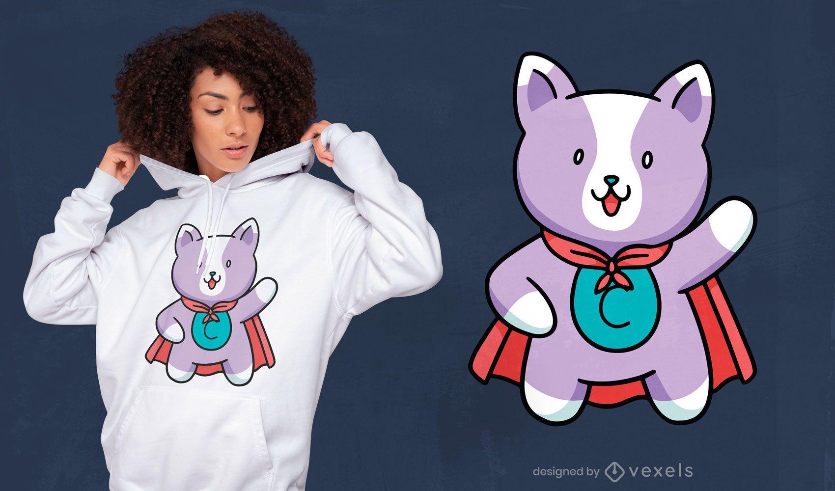 Lindo diseño de camiseta de gato superhéroe