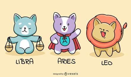 Conjunto de gatos do signo do zodíaco