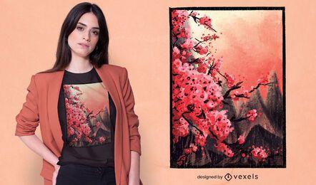 Desenho de t-shirt com pintura em flor de cerejeira
