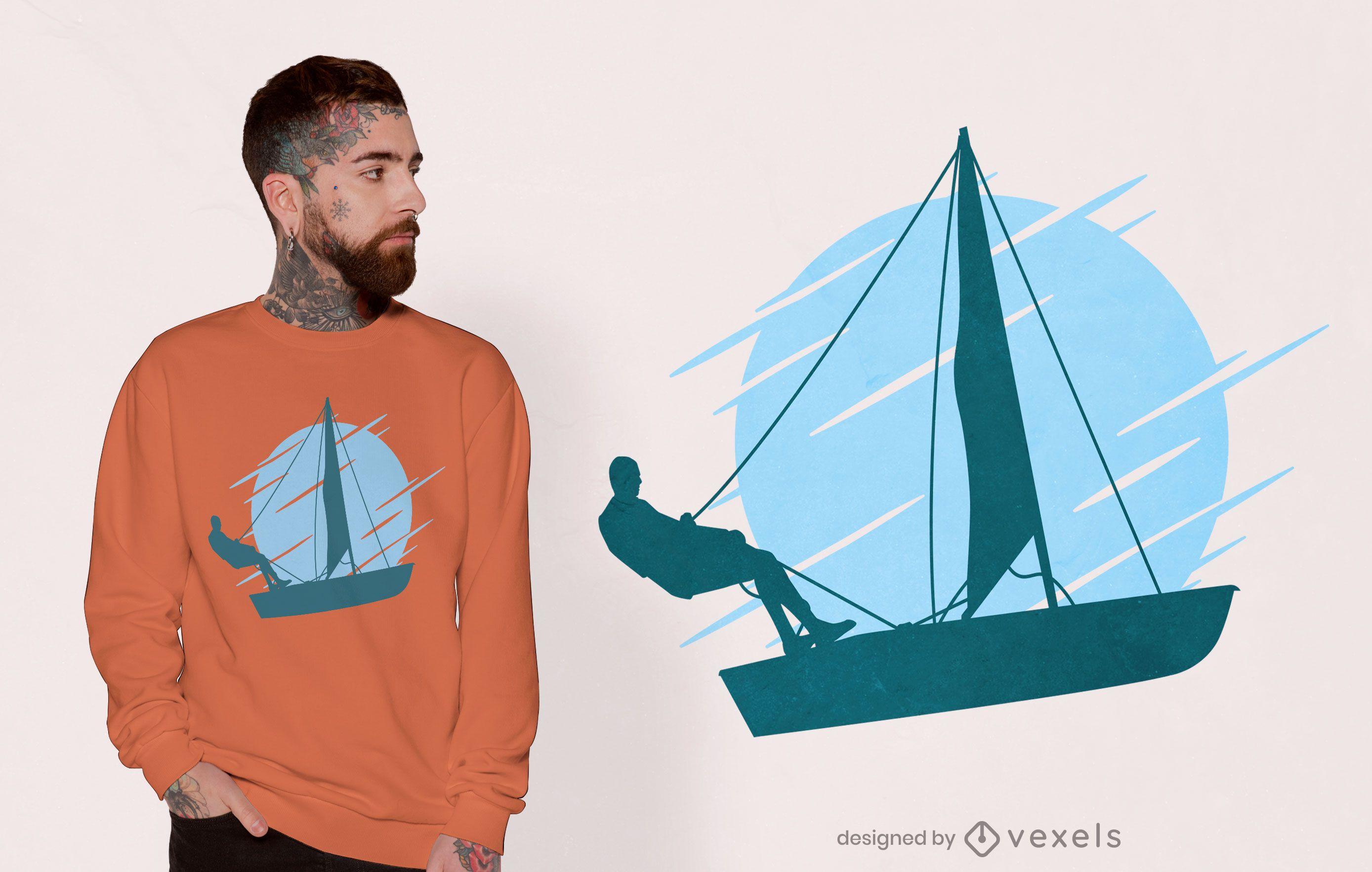 Desenho de t-shirt com silhueta de barco à vela