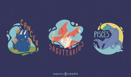 Conjunto de signos do zodíaco de dinossauros