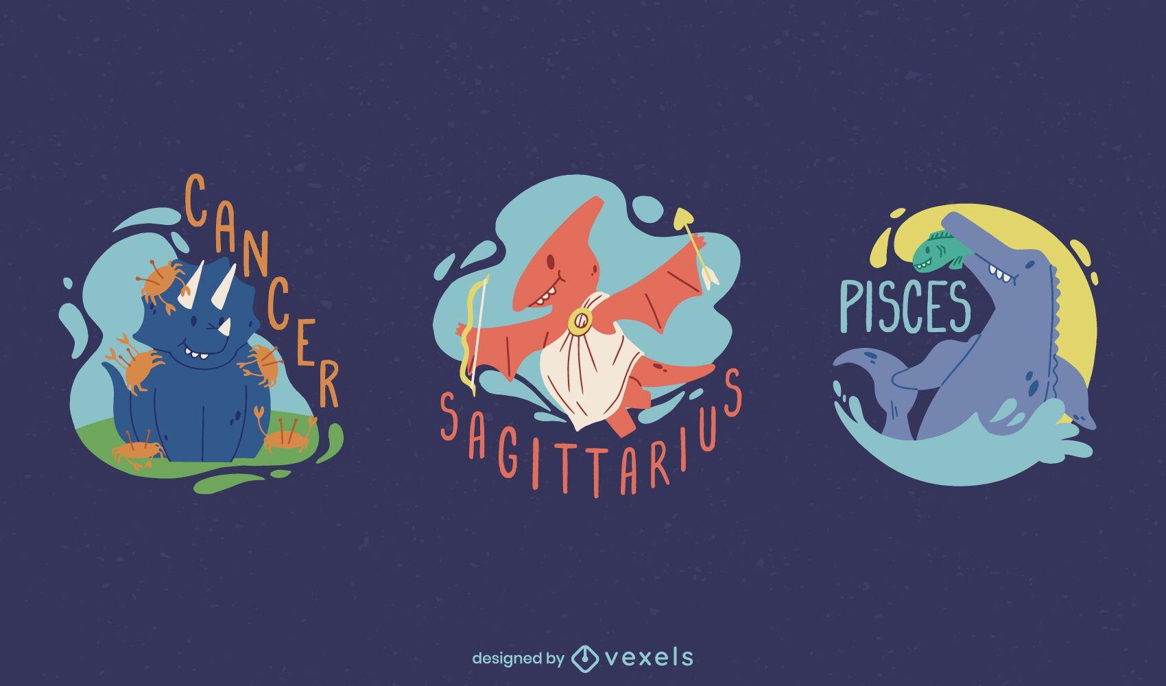 Dinosaur zodiac signs set