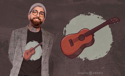 Design de t-shirt ukelele de madeira