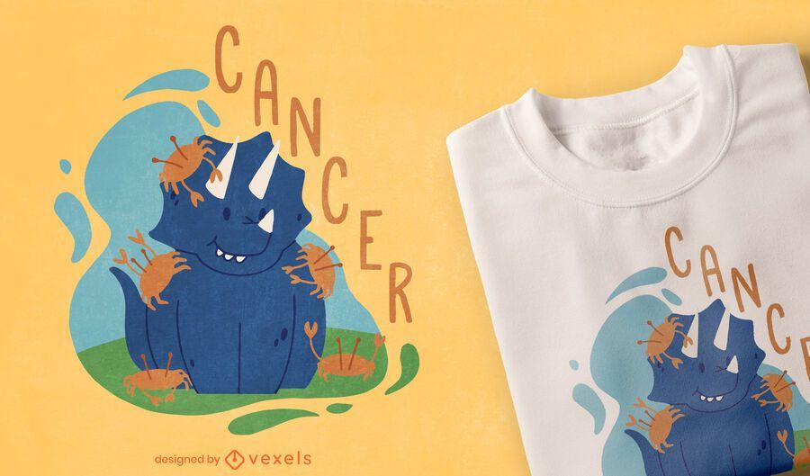 Diseño de camiseta de cáncer de signo del zodiaco de dinosaurio