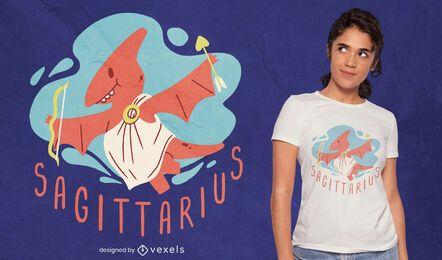 Design de camiseta sagitário de dinossauro, signo do zodíaco