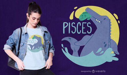 Dinosaur zodiac sign pisces t-shirt design