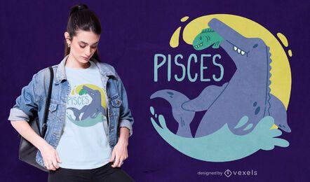 Diseño de camiseta de dinosaurio signo del zodiaco piscis