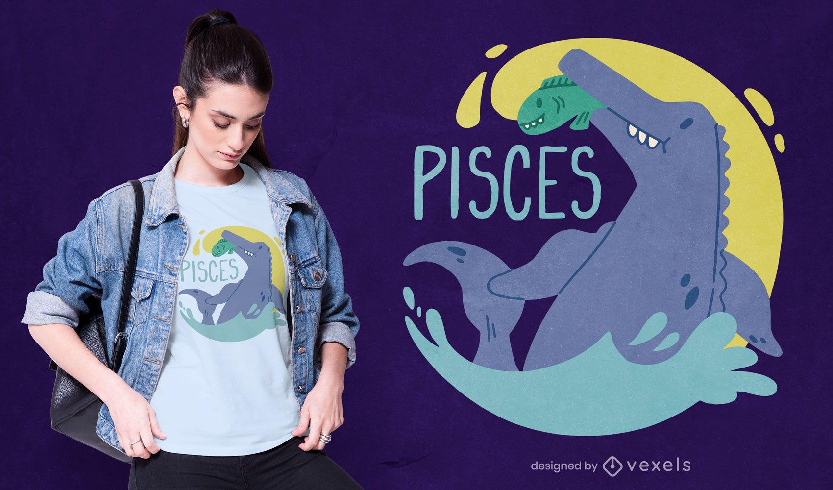 Design de camiseta de dinossauro signo do zodíaco Pisces
