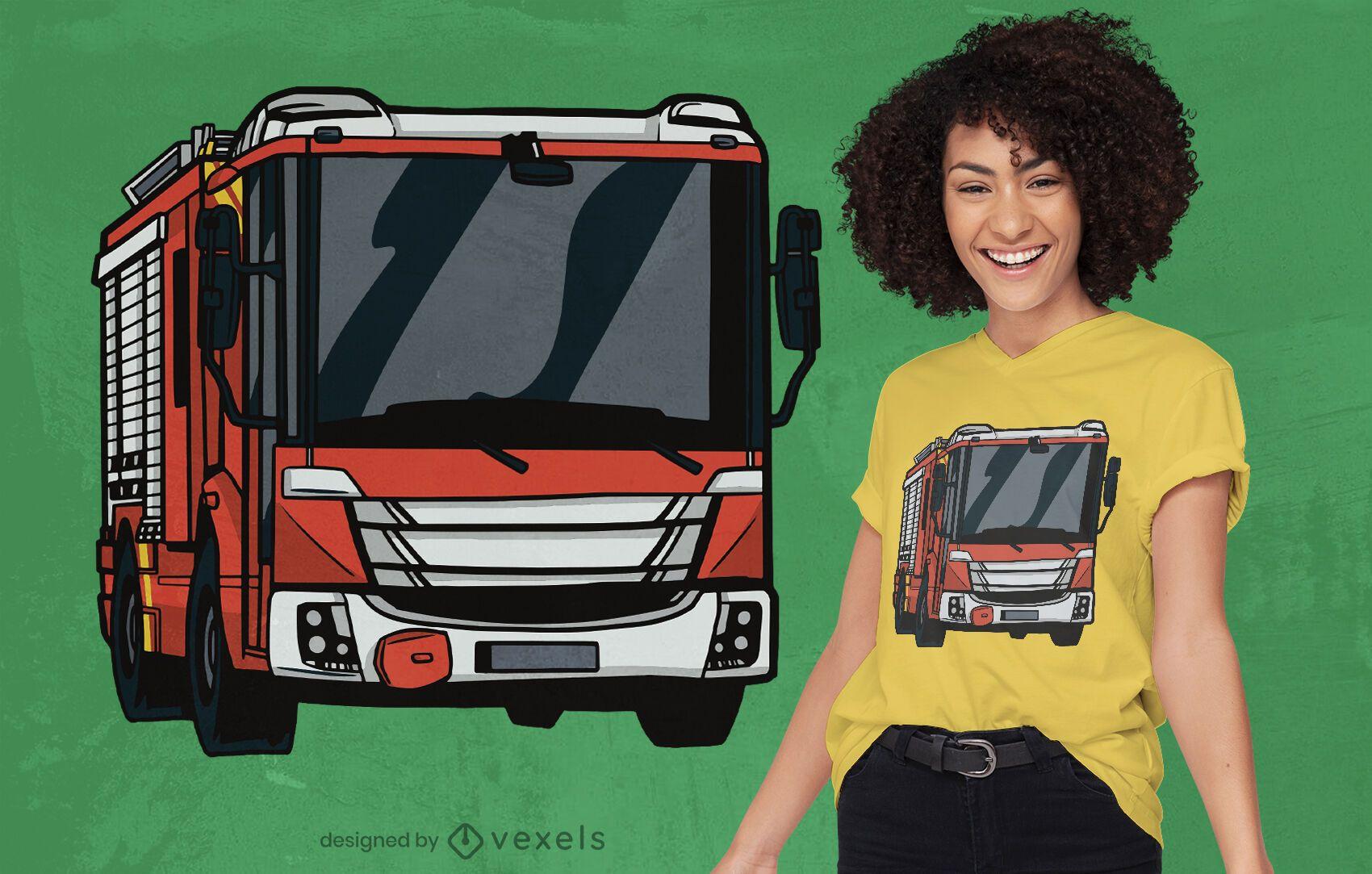 Diseño de camiseta de camión de bomberos