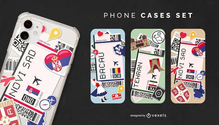 International boarding pass phone case set