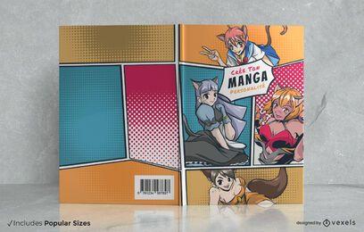 Diseño de portada de cómic de personajes manga