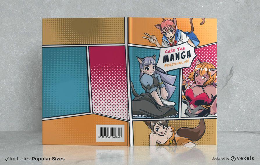 Manga characters comic book cover design