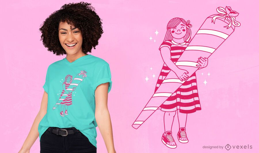 Girl with sugar cone t-shirt design
