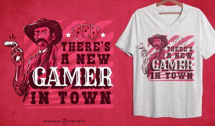 Novo gamer no design de camisetas da cidade