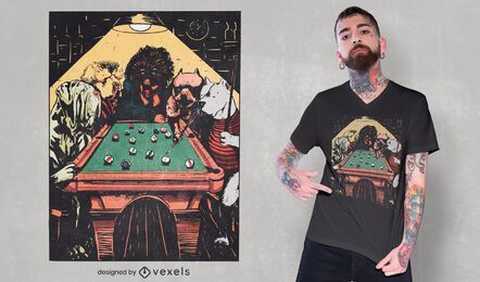 Dogs playing billiards t-shirt design