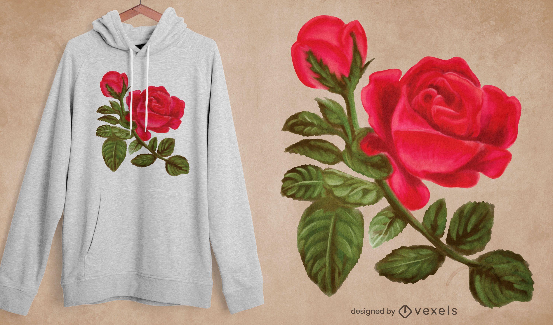Watercolor rose t-shirt design