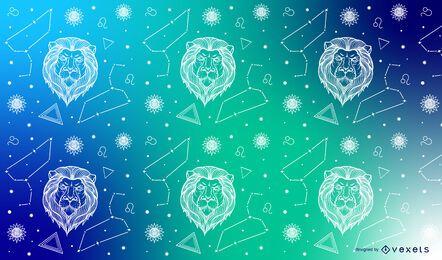 Desenho de padrão de constelação de Leo zodíaco