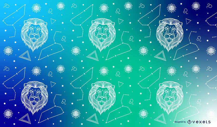 Leo zodiac constellation pattern design