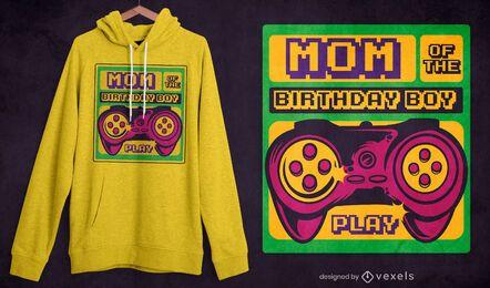 Diseño de camiseta de cumpleaños niño mamá