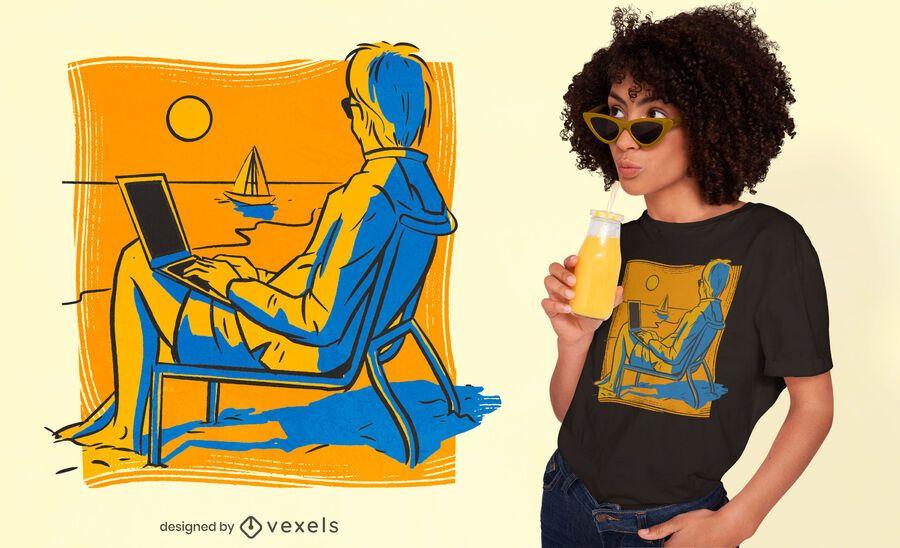 Diseño de camiseta nómada digital.
