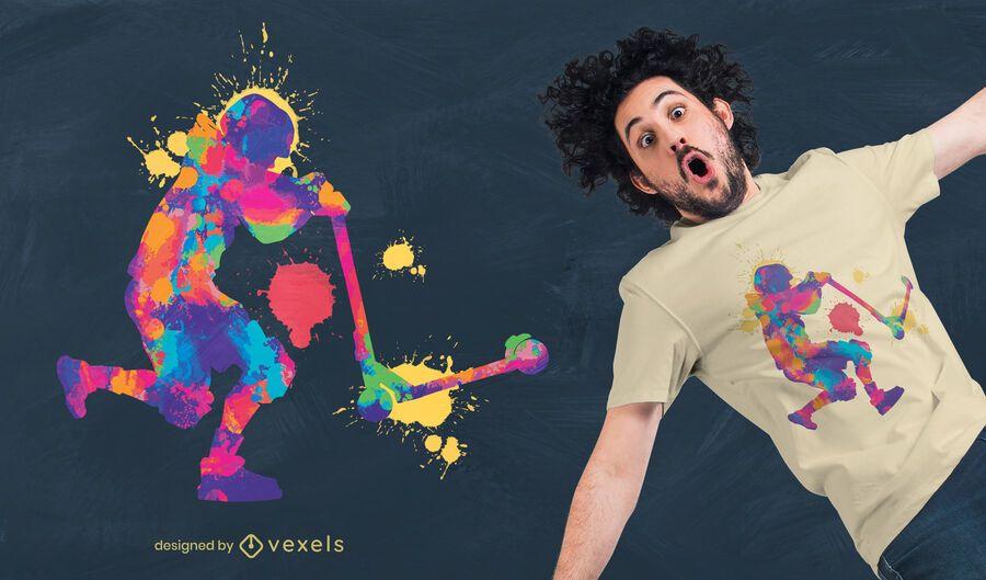 Diseño de camiseta colorida de kickscooter.