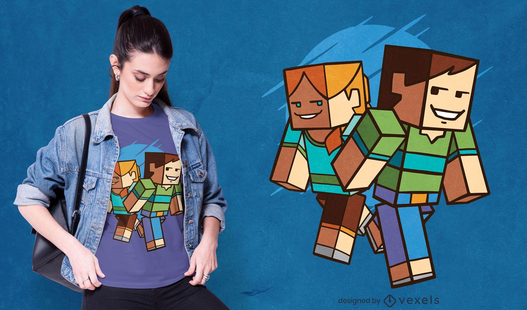 Design de camisetas com personagens cúbicos
