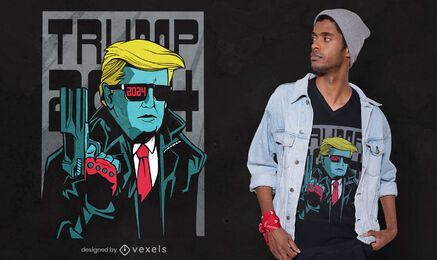 Trump 2024 comic style t-shirt design