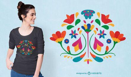 Design de camisetas com decoração mexicana de flores Otomi