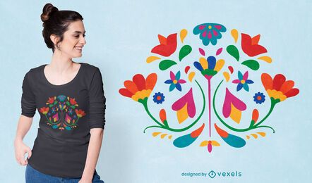 Otomi flower mexican decoration t-shirt design