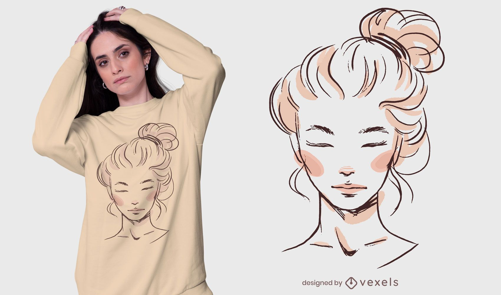 Diseño de camiseta de moño desordenado de niña